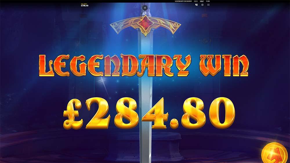 Legendary Excalibur Slot - Legendary Win