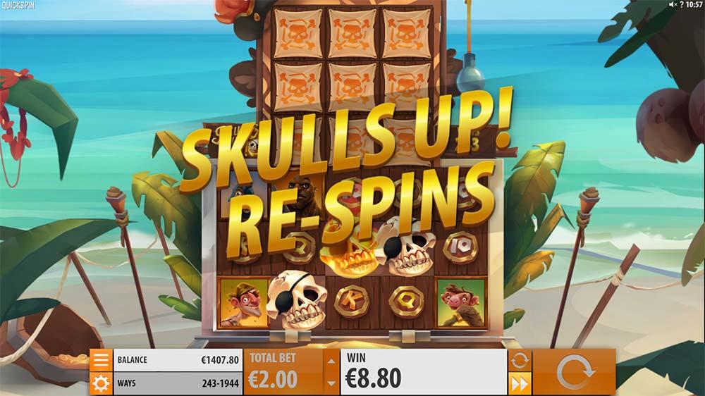Skulls Up Slot - Gold Skull Re-Spins