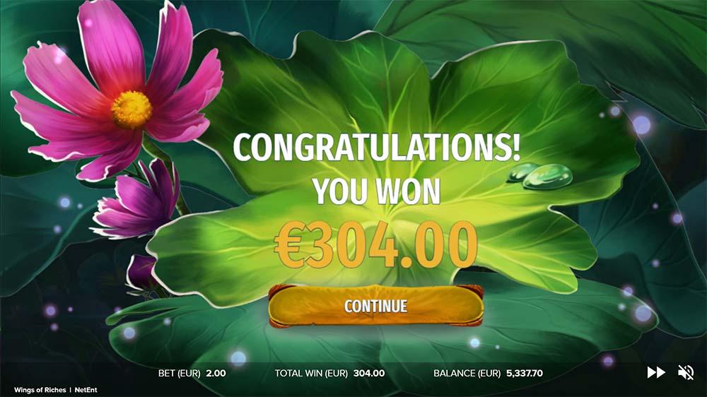 Wings of Riches Slot - Bonus End