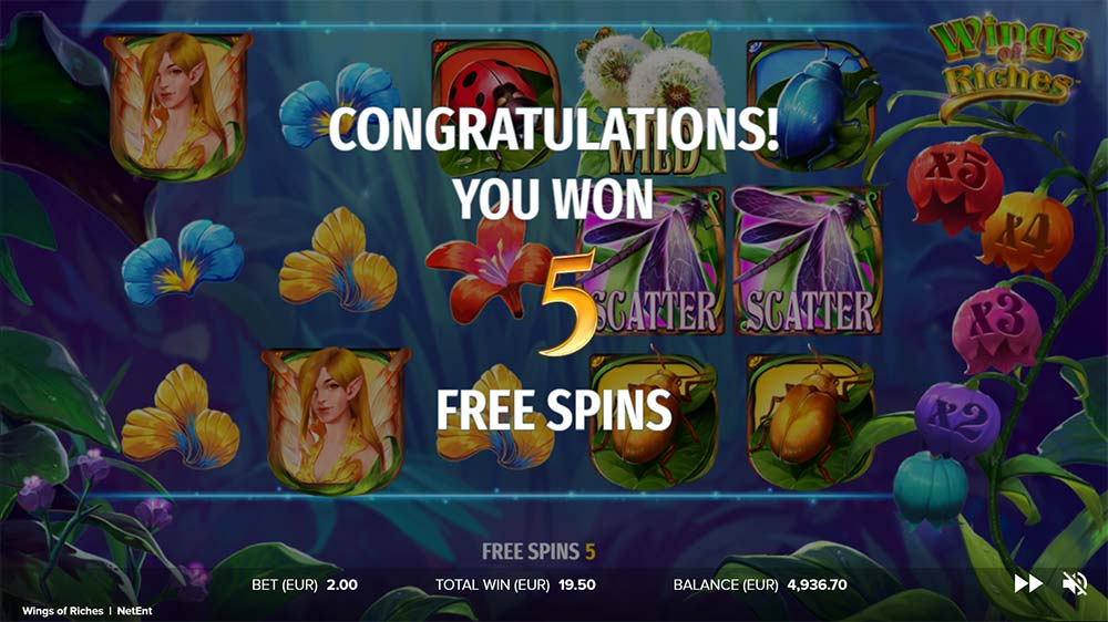 Wings of Riches Slot - Free Spins Re-Trigger