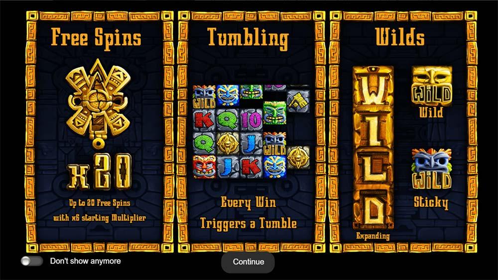 Aztec Wilds Slot - Intro Screen