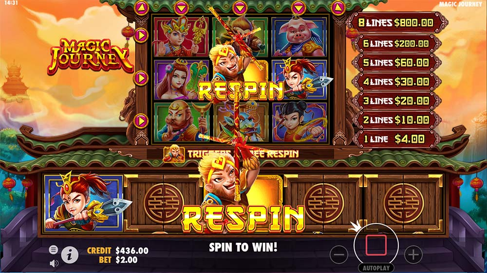 Magic Journey Slot - Respin Feature