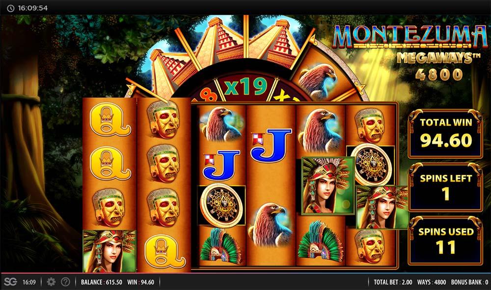 Montezuma Megaways Slot - Re-Trigger Multiplier Wheel