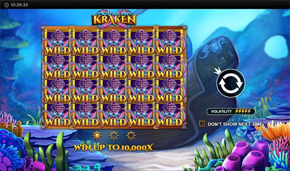 Release the Kraken Slot - Intro Screen