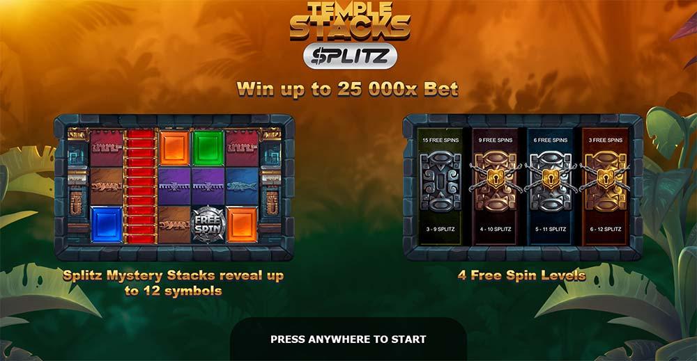 Temple Stacks Splitz Slot - Intro Screen