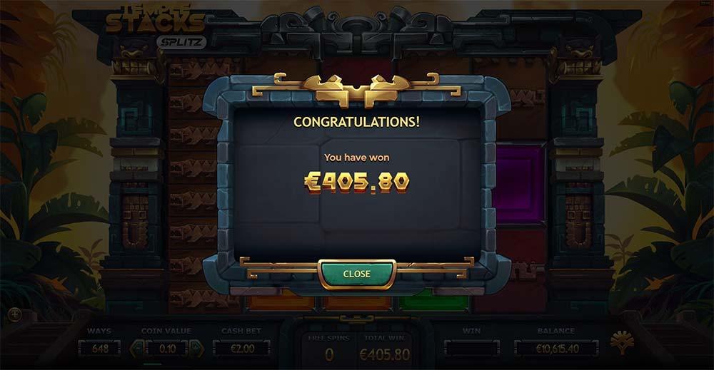 Temple Stacks Splitz Slot - Bonus End