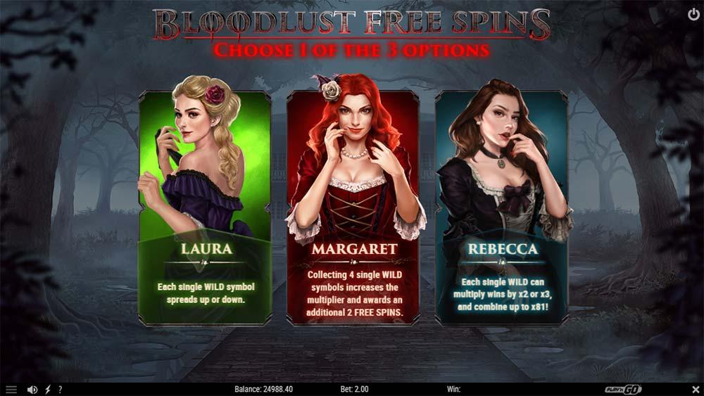 Wild Blood II Slot - Bonus Select Screen