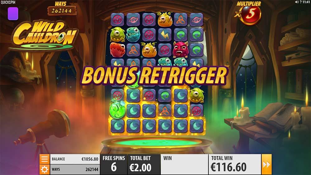Wild Cauldron Slot - Bonus Re-Trigger