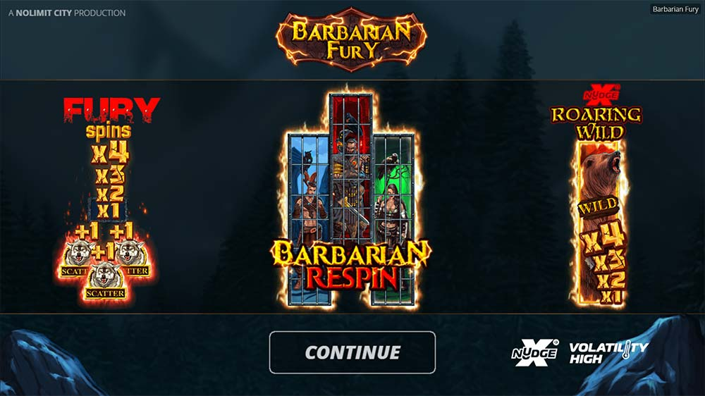 Barbarian Fury Slot - Intro Screen