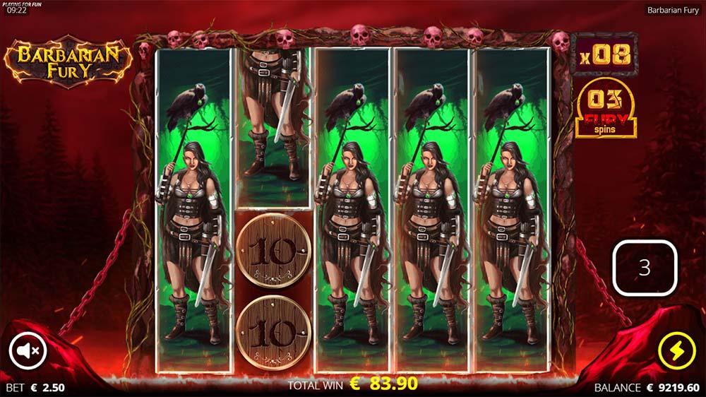 Barbarian Fury Slot - Locked Symbol Re-Spins