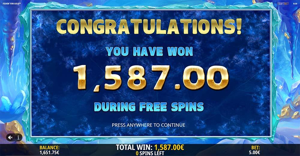 Fishin for Gold Slot - Bonus End