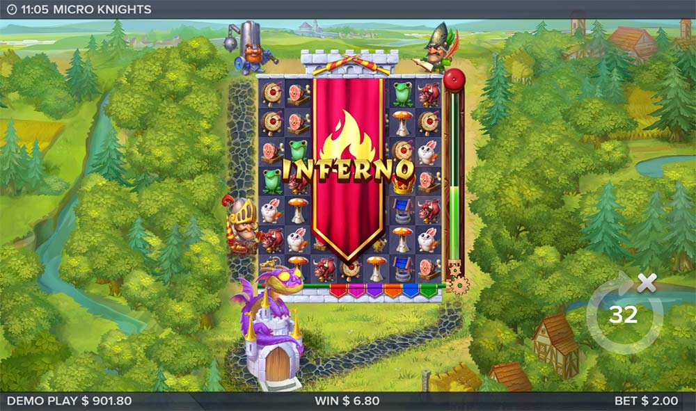 Micro Knights Slot - Inferno Feature