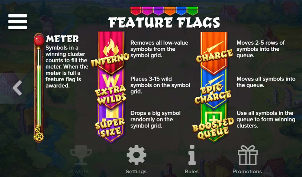 Micro Knights Slot - Flag Features