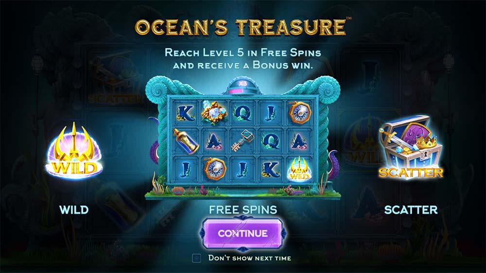 Ocean's Treasure Slot - Intro Screen