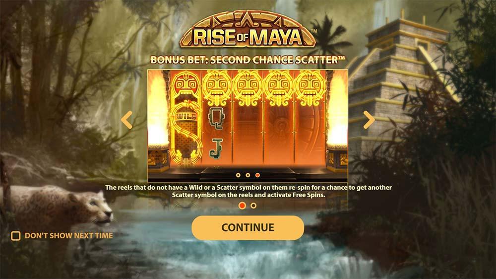 Rise of Maya Slot - Intro Screen