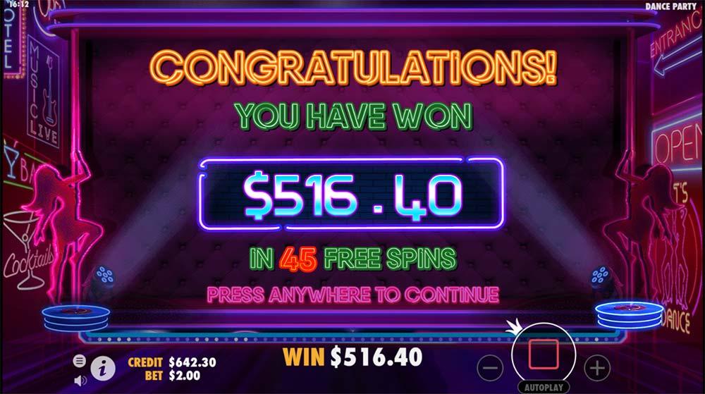 Dance Party Slot - Bonus End