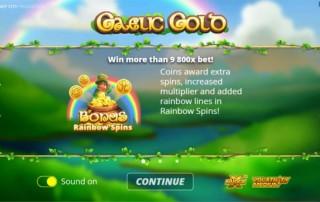 Gaelic Gold Slot - Intro Screen