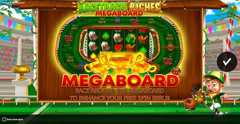 Racetrack Riches Megaboard Slot - Intro Screen