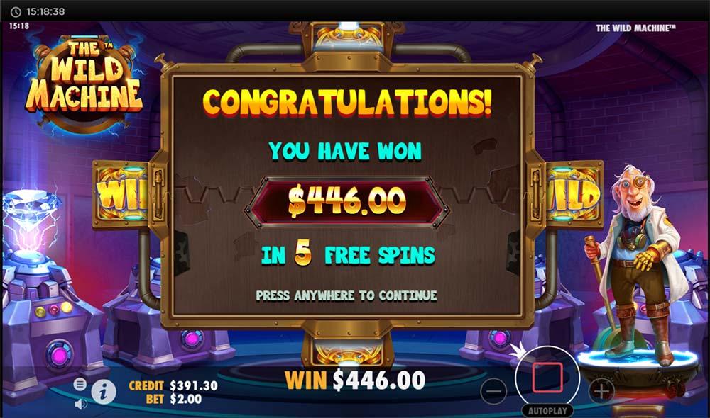 The Wild Machine Slot - Sticky Wilds Bonus End