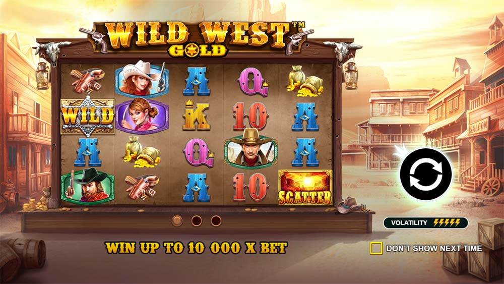 Wild West Gold Slot - Intro Screen