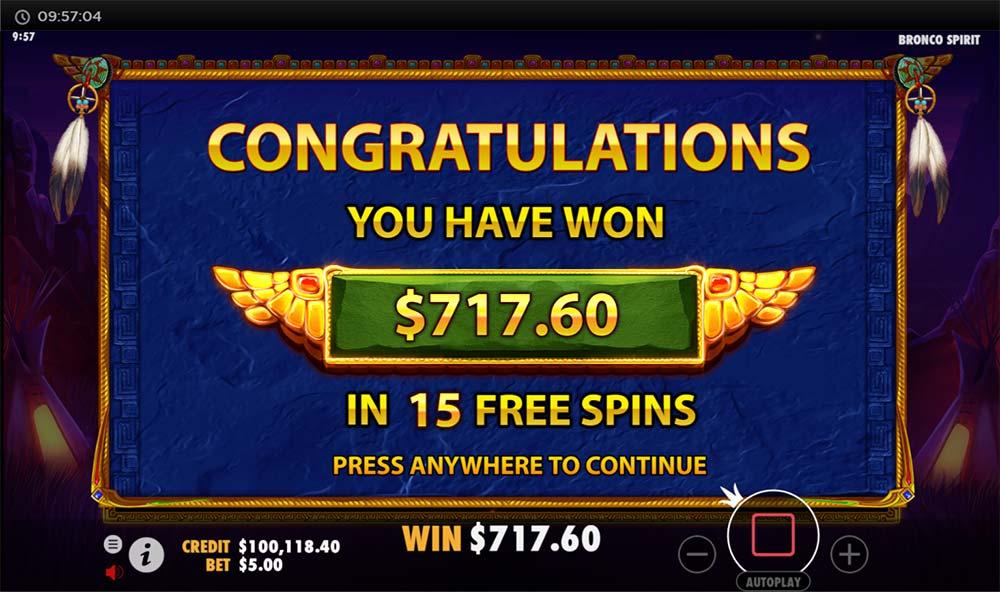Bronco Spirit Slot - Bonus End