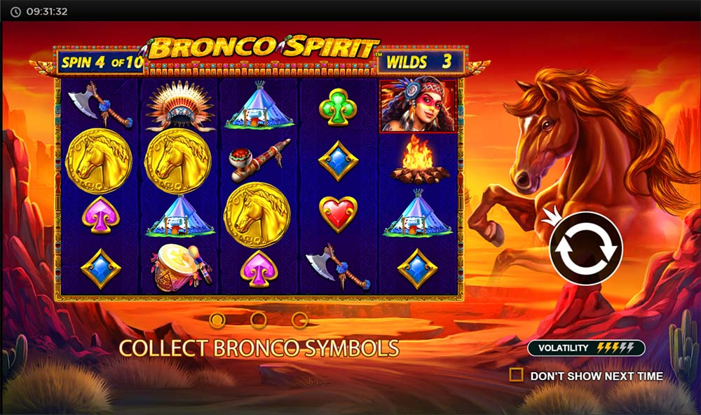 Bronco Spirit Slot - Intro Screen