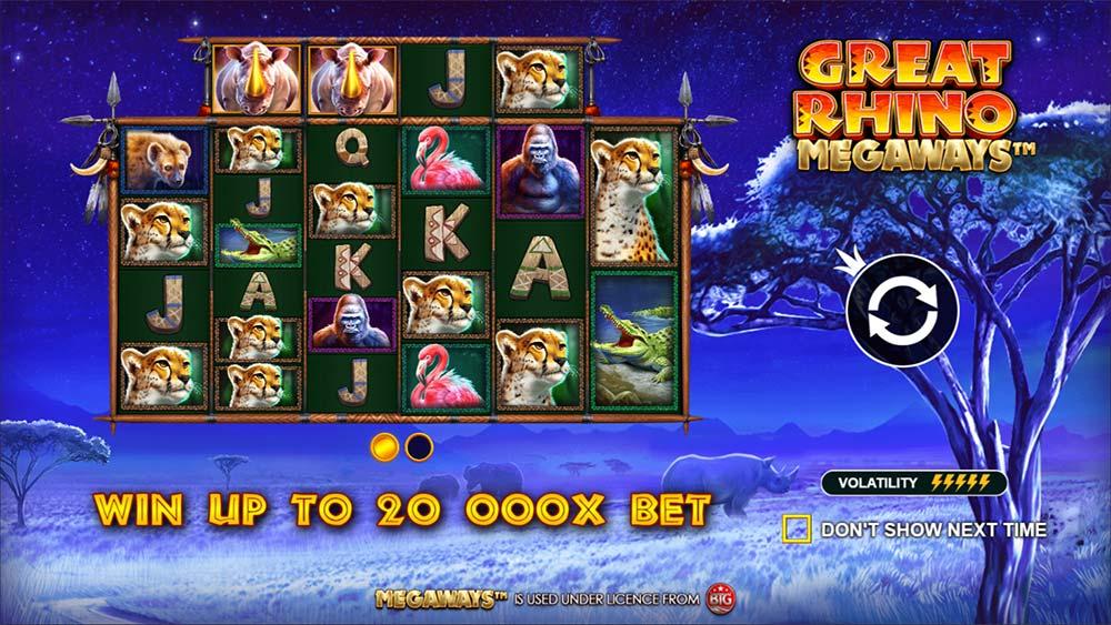 Great Rhino Megaways Slot - Intro Screen