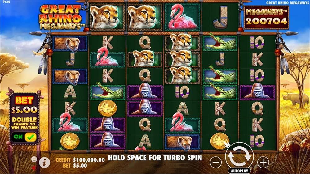 Great Rhino Megaways Slot - Base Game