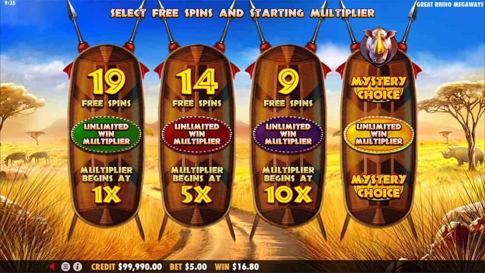 Great Rhino Megaways Slot - Free Spins Options