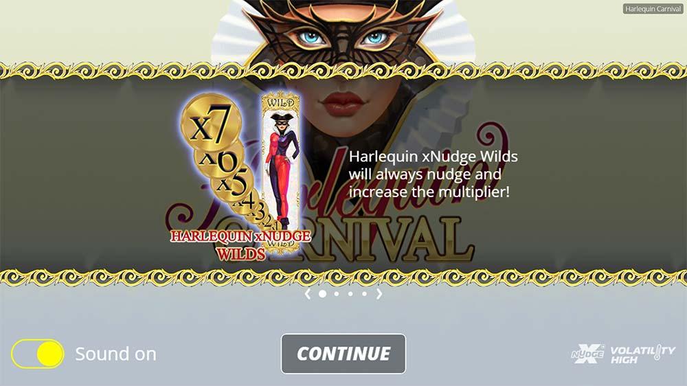 Harlequin Carnival Slot - Intro Screen