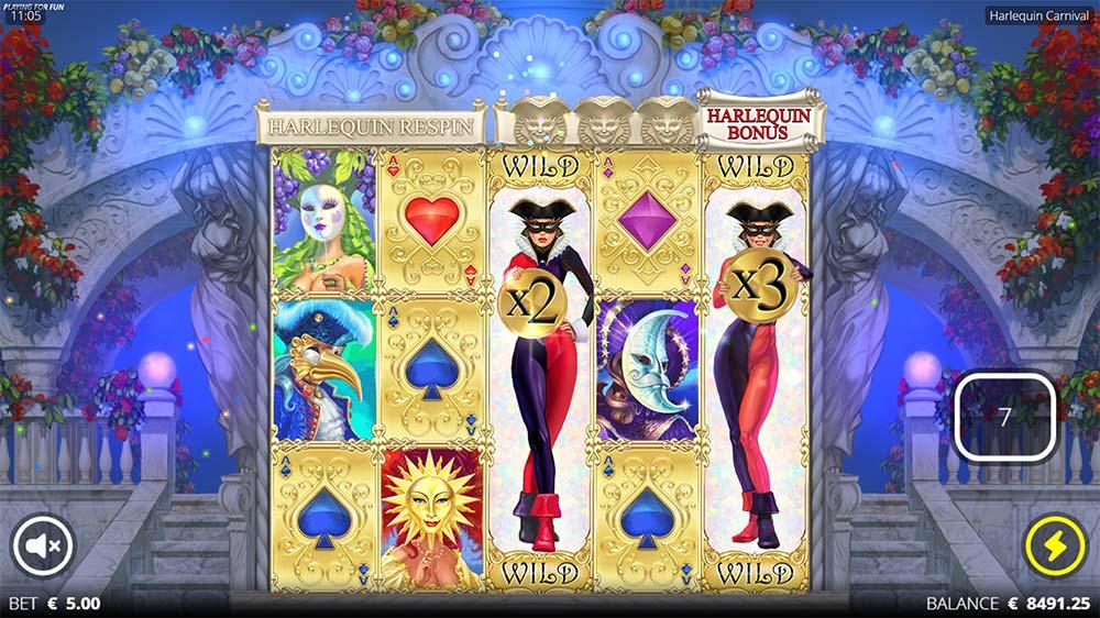 Harlequin Carnival Slot - Nudging Wild Reels