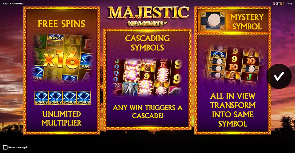 Majestic Megaways Slot - Intro Screen
