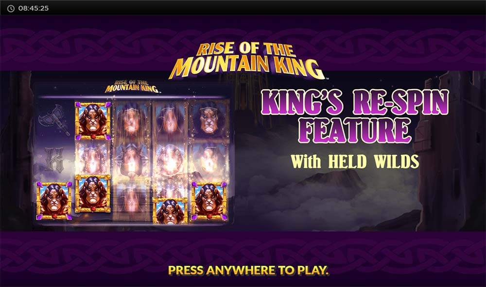 Rise of the Mountain King Slot - Intro Screen