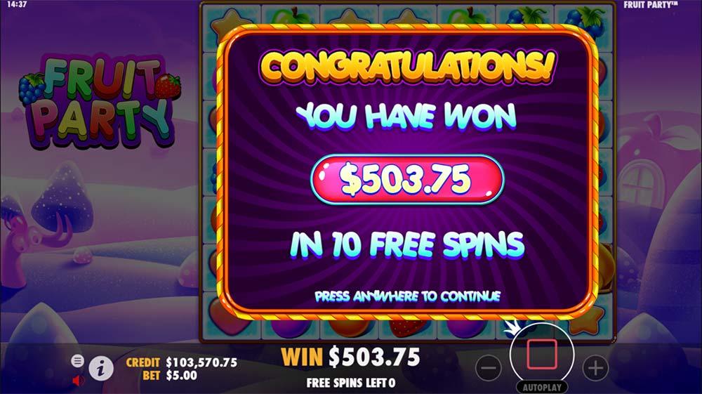 Fruit Party Slot - Bonus End