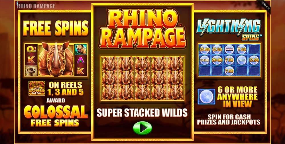 Rhino Rampage Slot - Intro Screen