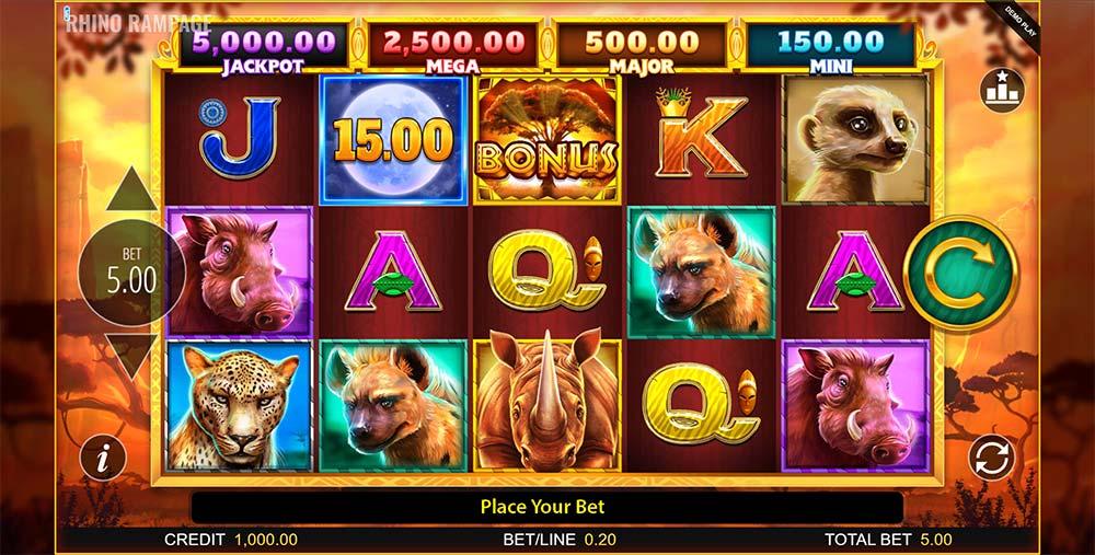 Rhino Rampage Slot - Base Game