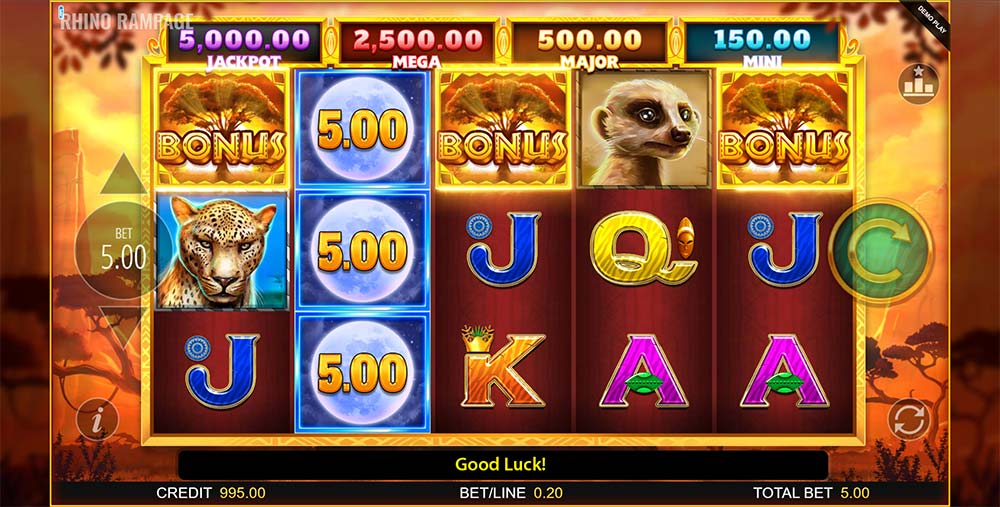 Rhino Rampage Slot - Free Spins Bonus Trigger