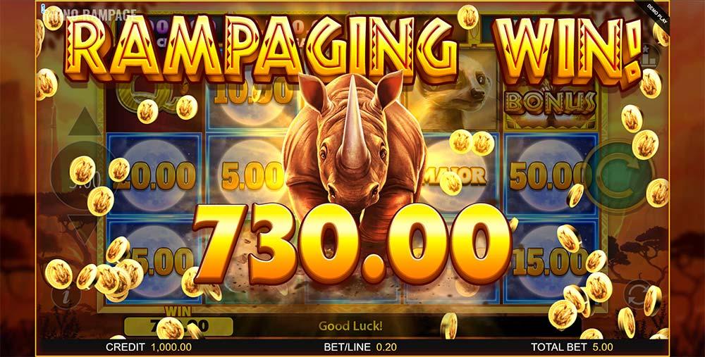 Rhino Rampage Slot - Rampaging Win