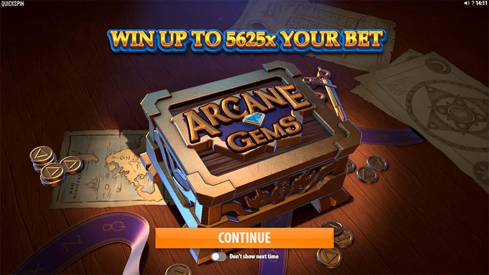 Arcane Gems Slot - Intro Screen
