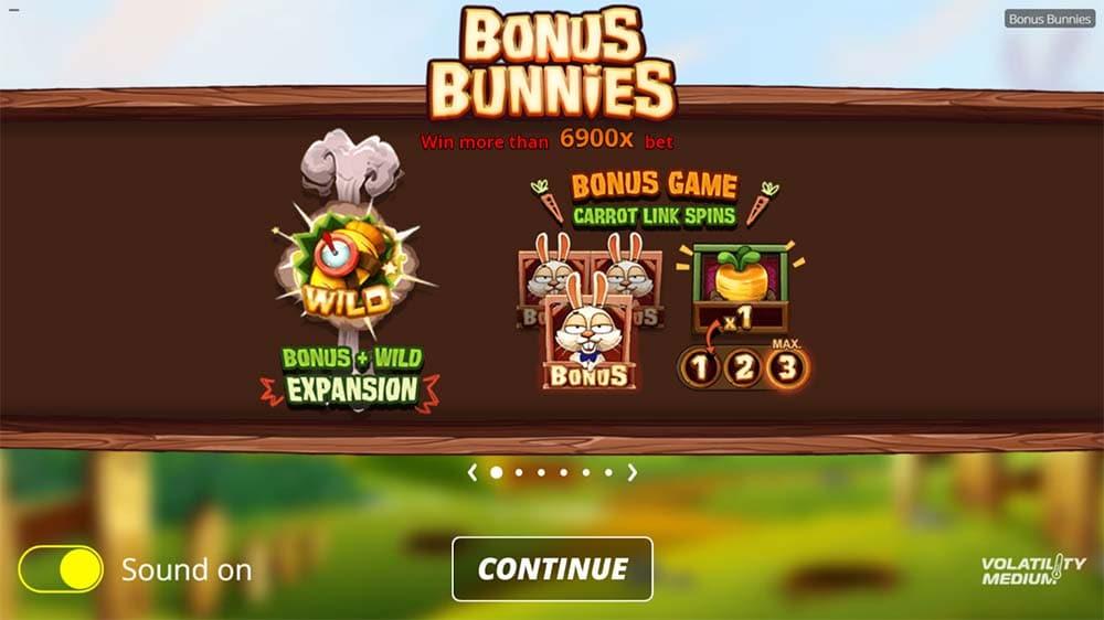 Bonus Bunnies Slot - Intro Screen