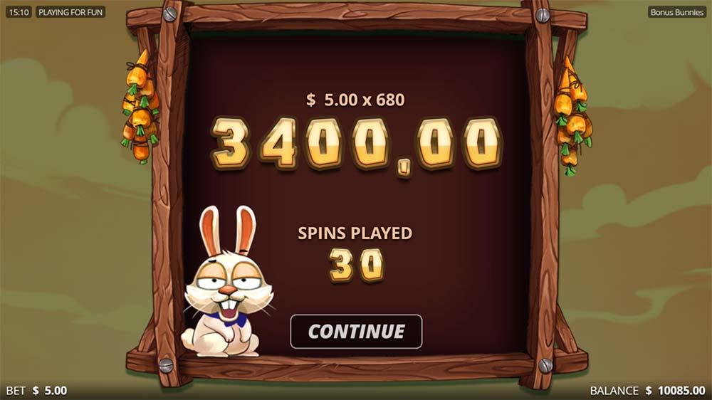Bonus Bunnies Slot - Bonus End