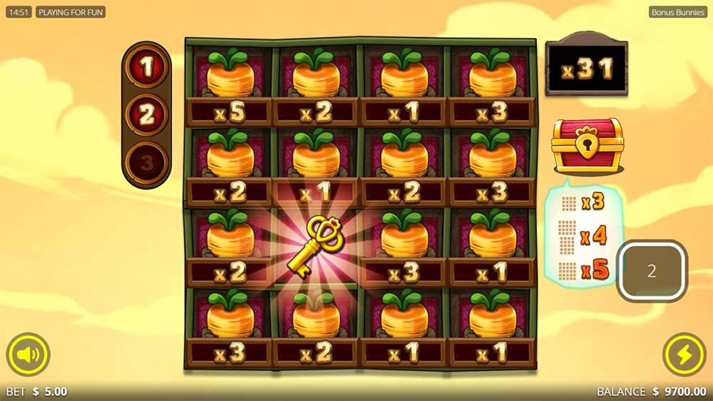 Bonus Bunnies Slot - Treasure Key Collected