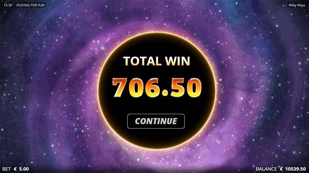 Milky Ways Slot - Bonus End