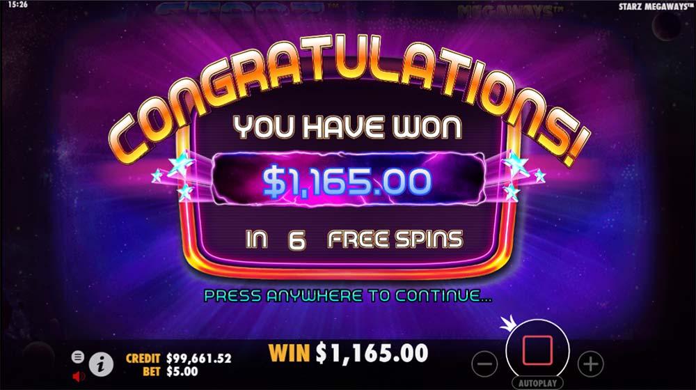 Starz Megaways Slot - Bonus End