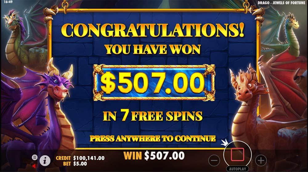 Drago Jewels of Fortune Slot - Bonus End