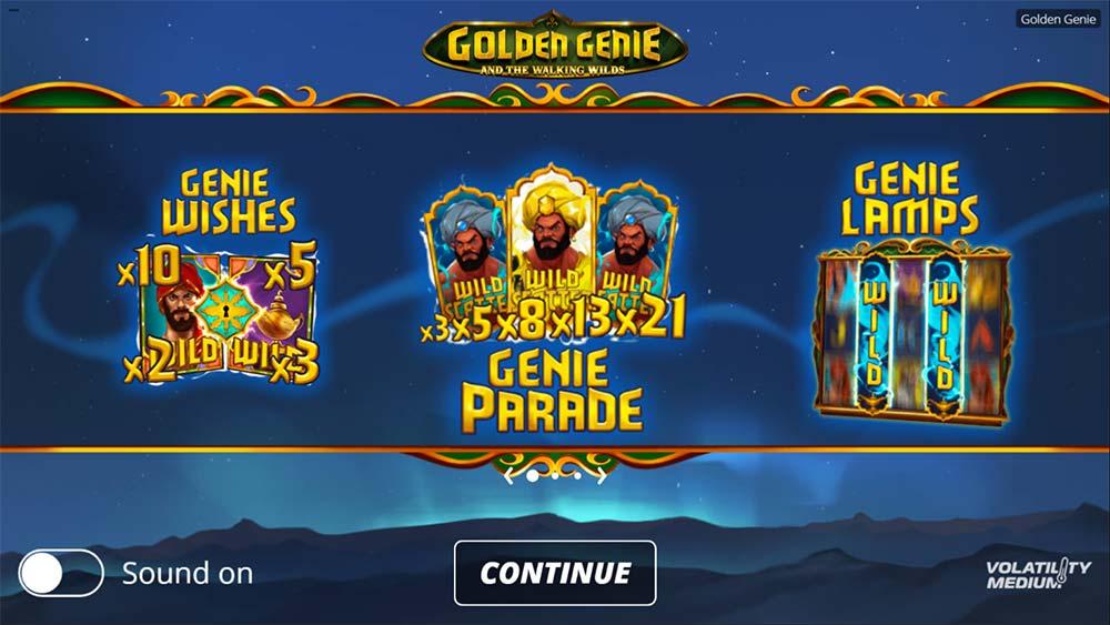 Golden Genie Slot - Intro Screen