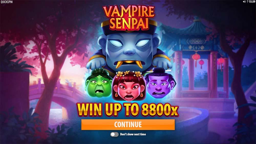 Vampire Senpai Slot - Intro Screen