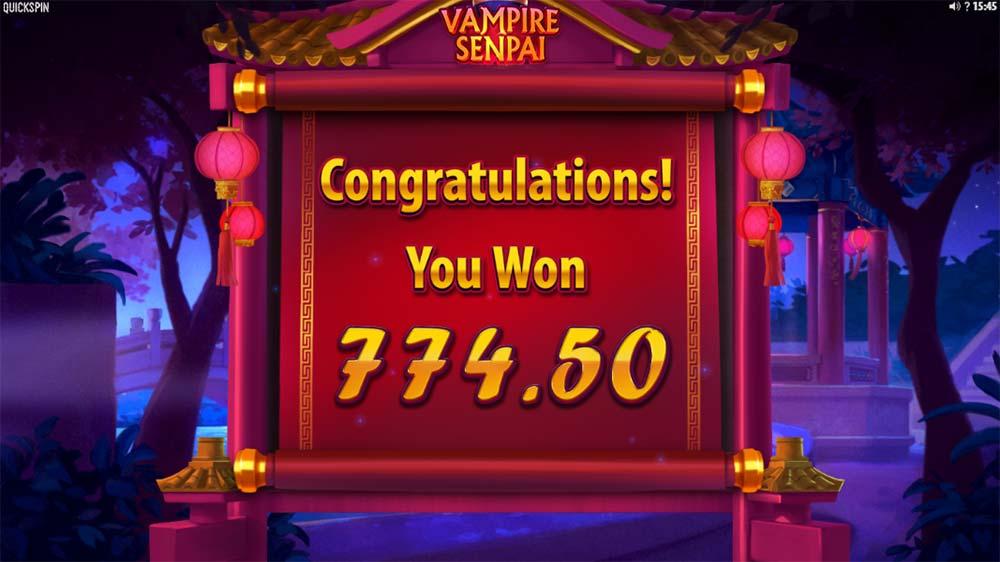 Vampire Senpai Slot - Bonus End