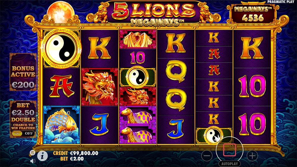 5 Lions Megaways Slot - Bonus Trigger