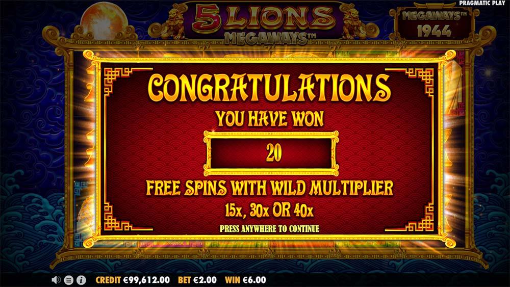 5 Lions Megaways Slot - Free Spins Start